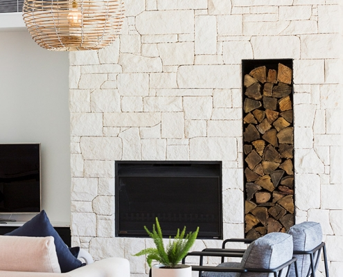 Fireplace in living space